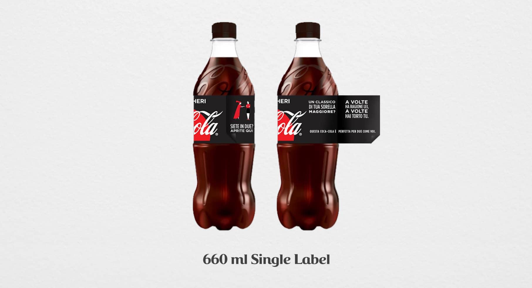 Coca-Cola label design copywriting sorella maggiore mockup
