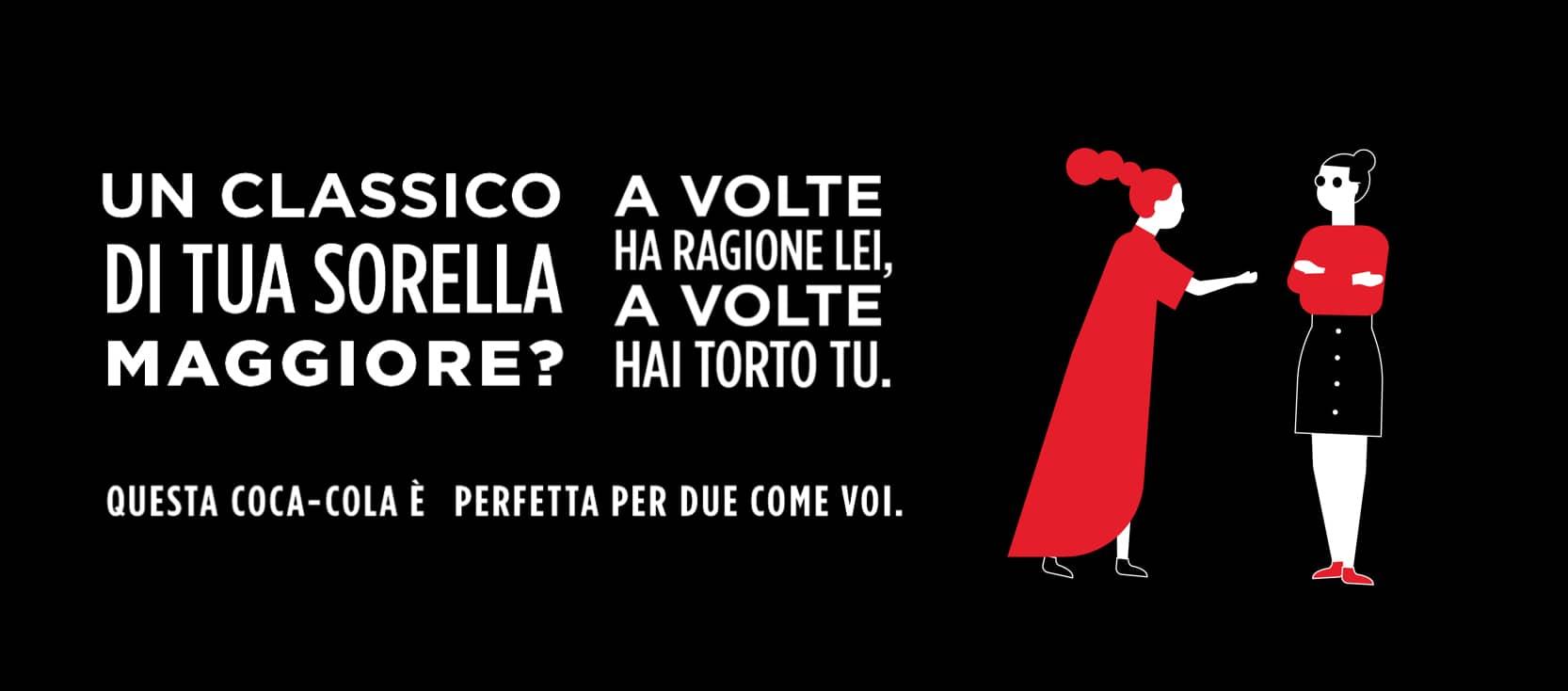 Coca-Cola label design copywriting sorella maggiore
